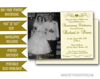 50th Golden Anniversary Party Invitation - Vow Renewal 50th Wedding Anniversary Invite - Gold Photo Invitation - Heart Ivory Invitations