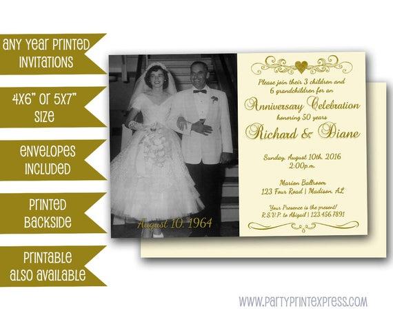 Golden Wedding Anniversary Invitations: 50th Golden Anniversary Party Invitation Vow Renewal 50th
