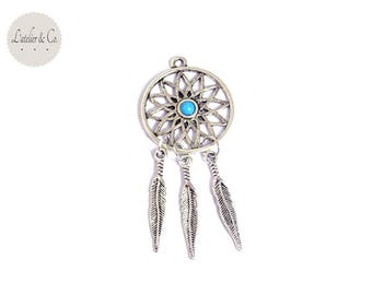 Charm Bohemian dreamcatcher 55x32mm silver turquoise Native American / Indian-17