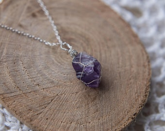 Raw Amethyst Crystal Necklace, Wire Wrapped Crystal, Sterling Silver Chain, Amethyst, Healing Crystal