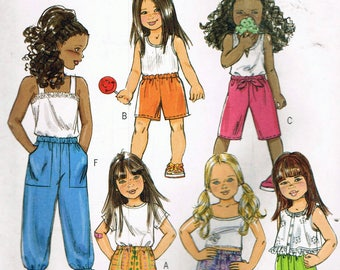 Size 3-6 Girl's Easy Pants Or Shorts Sewing Pattern - Pull On Pants Pattern - Pull On Shorts Pattern - Pull On Capri Pants - Butterick B5021