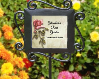 Personalized My Rose Garden Stake Wrought Iron Red or Yellow Rose Garden Marker Any Text