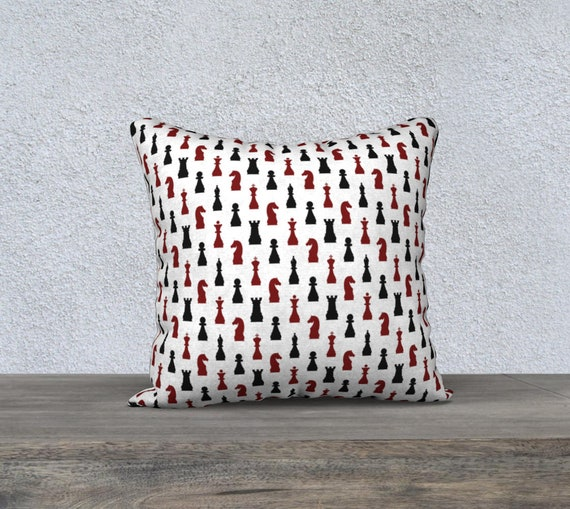 red and black print chess piece pillow cover size 18x18