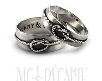 His and Hers: cable knot ring band;  2 engravings inside each ring, 8mm and 6mm band, wedding rings, promise ring, anniversary rings
