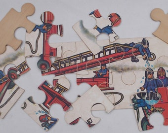 Large Vintage Wooden Jigsaw Puzzle Fire Fighters and Fire Engine