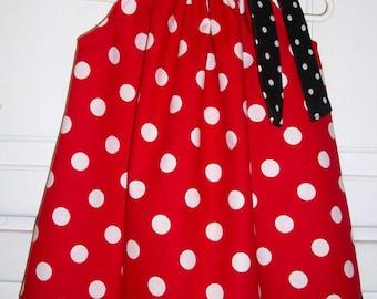Girls Dress Minnie Dress Pillowcase Dress Red with Black Dots Ladybug Dress baby dress toddler dress Minnie Party Clothes Minnie Inspired