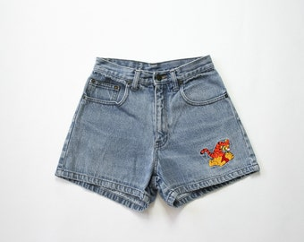 Vintage Winnie the Pooh and Tigger Jean Shorts / 90s Denim Shorts / 1990s Revival / High Waisted Shorts / Grunge / Iconic / Extra Small