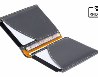 Luxury RFID Leather Wallet - Minimalist Wallet / Card Holder / Slim Wallet - Grey/Yellow - A-SLIM - Origami - Small Wallet - Mans Wallets