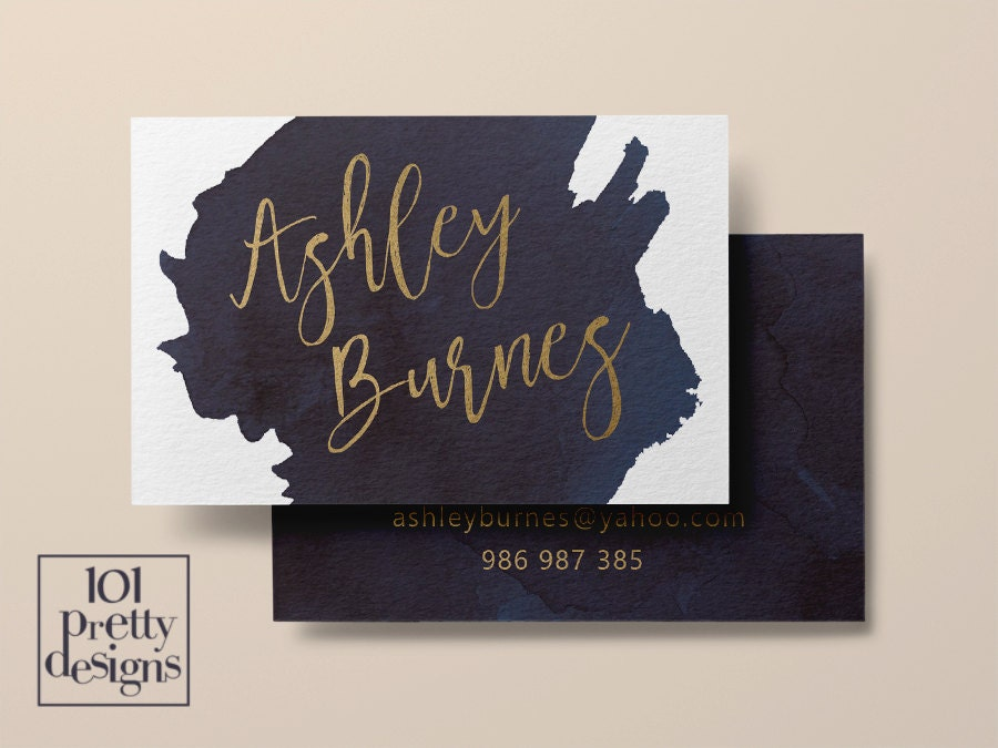 Watercolor business card template gold printable business card
