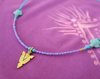 Boho chic necklace, Tribal necklace, beaded necklace, gold arrow head necklace, hot pink, turquoise necklace with tortoise charms.