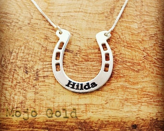 Horseshoe Necklace  Silver Name Necklace Horseshoe Charm Necklace Lucky Charm Jewelry Personalized Jewelry Gift For Good Luck Gift For Mom