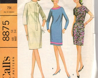 Bust 34-1967 Misses' Dress McCall's 8875  Size 14