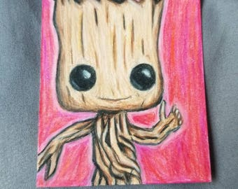 Dancing Groot Hand Drawn ACEO Artist Trading Card 2.5x3.5 inch Pink