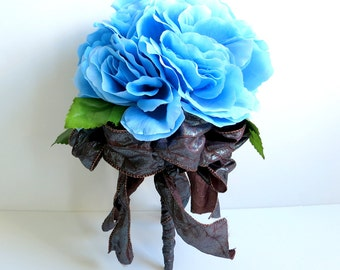 CLEARANCE - Bridal Bouquet - Silk Bouquet - Faux Bouquet - Artificial Bouquet - Blue Roses Bouquet - Blue and Brown Bouquet
