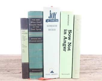 Green Decorative Books / Green and Beige Books / Old Books / Vintage Books / Antique Books Vintage Mixed Book Set / Books by Color for Decor