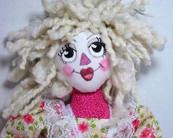 Pink Cloth Art Doll, Rag Doll, Pink Raggedy Cloth Doll, Soft Sculpture Doll, Folk Art Rag Doll,