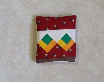 Quilted Patchwork Real Lavender Filled Sachet Red Green Yellow Brown Handmade