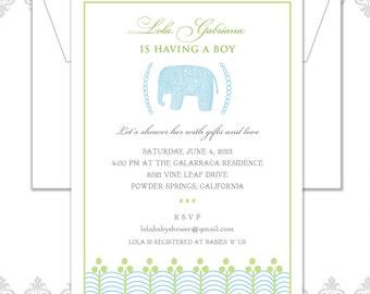 Elephant Baby Shower Invite, Vintage Shower invite, Elephant party, Vintage baby elephant, Boy or girl baby shower invite