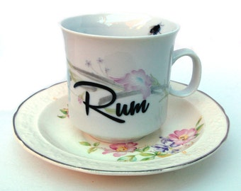 Rum Altered Vintage Teacup and Saucer