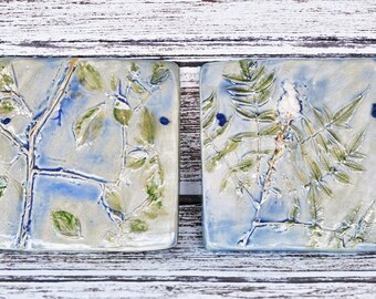 Botanical Wall Hanging, Wall Art, Plaque, Trees, Leaves, Nature Inspired, Blue and Green, Glazed Stoneware, Wall Tiles, Rustic Home Decor