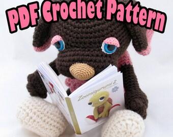 PDF Amigurumi /Crochet Pattern Brownie the Sleepy Eye Dog CP-14-3196