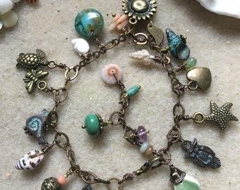 Darling Brass and Bronze Charm Bracelet with Kauai Shells