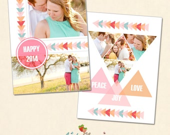 INSTANT DOWNLOAD 5x7 New Year Card Photoshop template - CA317