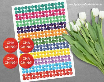 Cha Ching planner stickers - printable planner stickers - watercolor planner tickers - digital planner stickers - sticker sheet - cha-ching