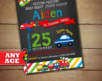SALE!! Transportation Invitation, Transportation Birthday, Cars Trucks Planes Invitation, Transportation Party, Chalkboard Invitation, DIY
