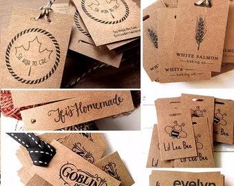 Kraft paper label, hanging tag, tag, custom label, store tags, gift sticker/100u