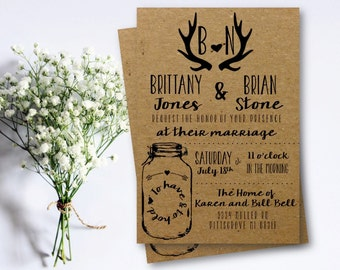 Rustic Wedding Invitation | Southern | Country | Charm | Kraft | Cowboys | Antlers | Arrows | Heart | Mason Jar | PRINTABLE/DIGITAL/DIY