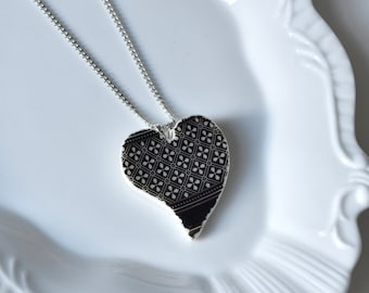 Recycled China Heart Pendant - Black and Silver - Portion of Proceeds to American Heart Association
