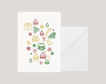 Printable Christmas Card   Greeting Card   Holiday Card     Xmas Card   A2 Card   Modern Christmas Card   Minimilist Christmas Card