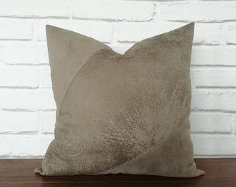 Fast shipping/9 color-Mink color vegan leather-nubuck-suede mix fabric pillow cover-diagonal design/scandinavian housewarming gift-1pcs