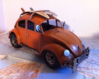VW Beetle Car - Orange Volkswagen Tin Metal Collectible Toy Home Decoration - Valentine's Gift for Him