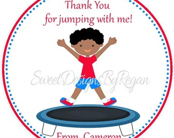 Trampoline Party Favor Tags - African American Designs ( Set of 12 ) / Trampoline Birthday Favors / Dark Skinned Trampoline Party Favors
