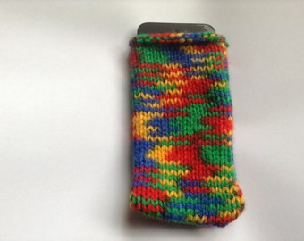 Rainbow iPod/Smartphone Knit Cozy