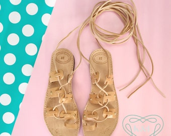 Adult Studded Wrap Up Greek Summer Leather Gladiator Sandals - Natural color leather with Gold Studded Detail