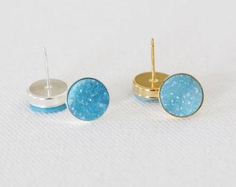 Sparkling Aqua Blue Natural Druzy Stud Earrings - druzy quartz, gemstone studs, post, bridesmaid gift, under 40, small, glitter, jewel, blue