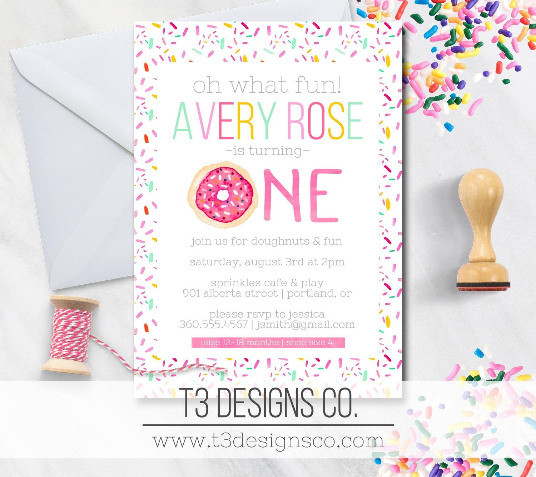 Donut birthday invitations