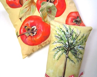 Persimmons & Rosemary  Hand Painted Pillows French Kitchen Cottage Chic Original Art Charming duo Rosemary Topiary Red White Checks
