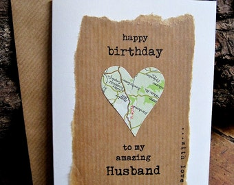 Red rose 30th 40th 50th 60th 70th birthday card for wife birthday card husband wife with vintage map personalised dad boyfriend partner wife fianc bookmarktalkfo Image collections