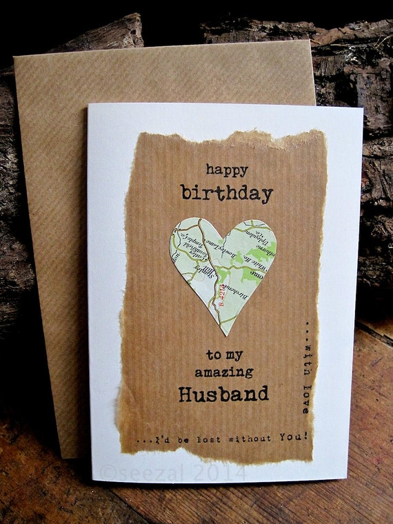 birthday card husband wife with vintage map personalised dad