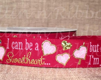 Sweetheart Gold Foil on Scarlet  7/8 Grosgrain Ribbon With Holographic Gold Foil