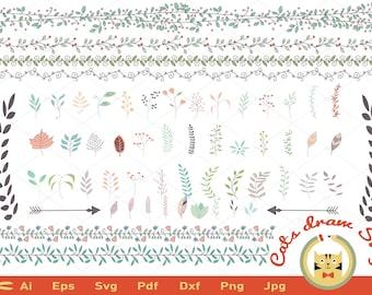 Leaf svg, Branches Cut file, svg,  Wedding Vector Clip Art, DIY wedding invitation clipart, ornament svg files, Silhouette and Cricut files