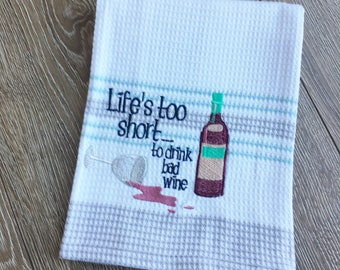 Personalized Tea Towel, Kitchen Towel, Cotton Tea Towel, Embroidered Tea Towel, Wine Tea Towel