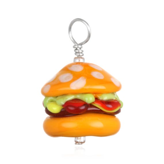 Glass Cheeseburger Pendant Necklace on Leather