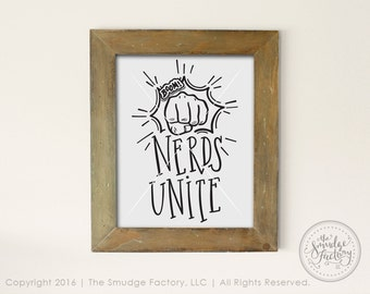 Nerd Printable File, Nerds Unite Clipart, Hand Drawn Nerd DIY Print, Fist Bump, Genius Graphic Overlay, Nerd Clipart, Geek Vector File