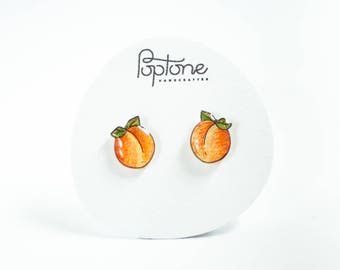 Peach Stud Earrings, fruit earrings, peach jewelry, sweet peaches, kawaii fruit jewelry, titanium earrings