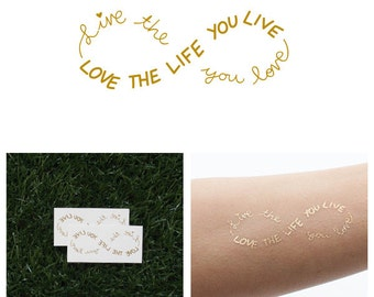 Obvious - Metallic Gold Infinity Sign Text Temporary Tattoo (Set of 2)